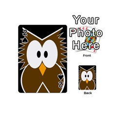 Brown Simple Owl Playing Cards 54 (mini)  by Valentinaart