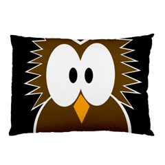 Brown Simple Owl Pillow Case (two Sides) by Valentinaart