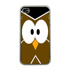Brown Simple Owl Apple Iphone 4 Case (clear) by Valentinaart