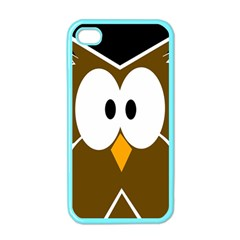 Brown Simple Owl Apple Iphone 4 Case (color) by Valentinaart