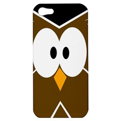 Brown Simple Owl Apple Iphone 5 Hardshell Case by Valentinaart