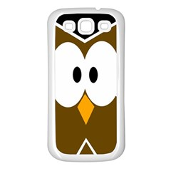 Brown Simple Owl Samsung Galaxy S3 Back Case (white) by Valentinaart