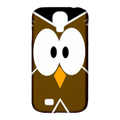 Brown Simple Owl Samsung Galaxy S4 Classic Hardshell Case (pc+silicone) by Valentinaart