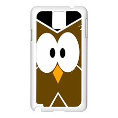 Brown Simple Owl Samsung Galaxy Note 3 N9005 Case (white) by Valentinaart