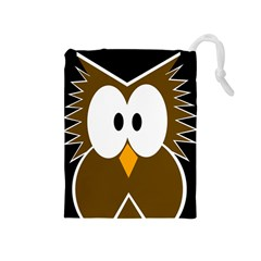 Brown Simple Owl Drawstring Pouches (medium)  by Valentinaart