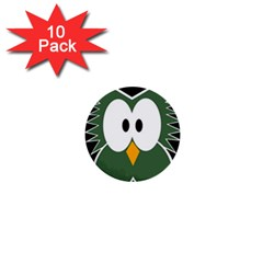 Green Owl 1  Mini Buttons (10 Pack)  by Valentinaart