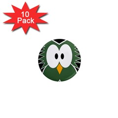 Green Owl 1  Mini Magnet (10 Pack)  by Valentinaart