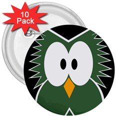 Green Owl 3  Buttons (10 Pack)  by Valentinaart