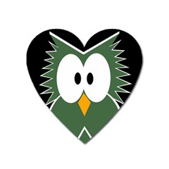 Green Owl Heart Magnet by Valentinaart