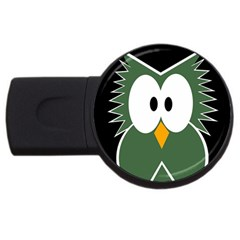 Green Owl Usb Flash Drive Round (4 Gb)  by Valentinaart