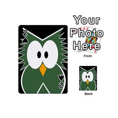 Green Owl Playing Cards 54 (mini)  by Valentinaart