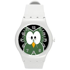 Green Owl Round Plastic Sport Watch (m) by Valentinaart