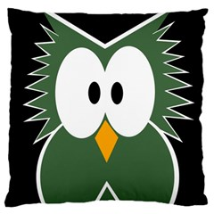 Green Owl Large Cushion Case (two Sides) by Valentinaart