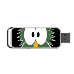 Green Owl Portable Usb Flash (one Side) by Valentinaart