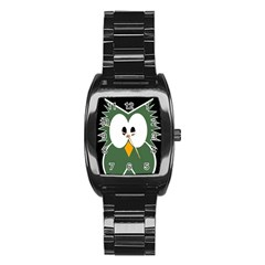 Green Owl Stainless Steel Barrel Watch by Valentinaart