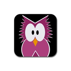 Pink Owl Rubber Square Coaster (4 Pack)  by Valentinaart