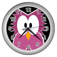 Pink Owl Wall Clocks (silver)  by Valentinaart