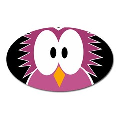 Pink Owl Oval Magnet by Valentinaart