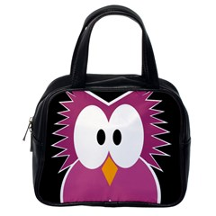 Pink Owl Classic Handbags (one Side) by Valentinaart
