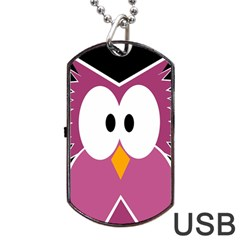 Pink Owl Dog Tag Usb Flash (two Sides)  by Valentinaart