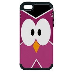 Pink Owl Apple Iphone 5 Hardshell Case (pc+silicone) by Valentinaart