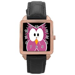 Pink Owl Rose Gold Leather Watch  by Valentinaart