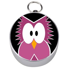 Pink Owl Silver Compasses by Valentinaart