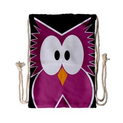Pink Owl Drawstring Bag (small) by Valentinaart