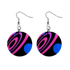 Pink And Blue Twist Mini Button Earrings by Valentinaart