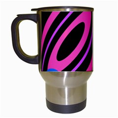 Pink And Blue Twist Travel Mugs (white) by Valentinaart