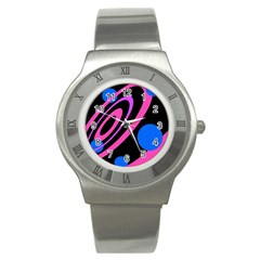 Pink And Blue Twist Stainless Steel Watch by Valentinaart