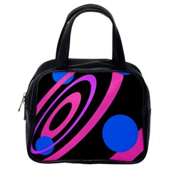 Pink And Blue Twist Classic Handbags (one Side) by Valentinaart