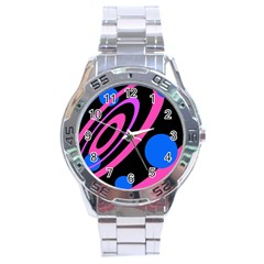 Pink And Blue Twist Stainless Steel Analogue Watch by Valentinaart