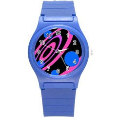 Pink And Blue Twist Round Plastic Sport Watch (s) by Valentinaart