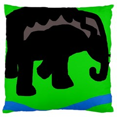 Elephand Large Cushion Case (two Sides) by Valentinaart