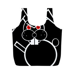 Evil Rabbit Full Print Recycle Bags (m)  by Valentinaart