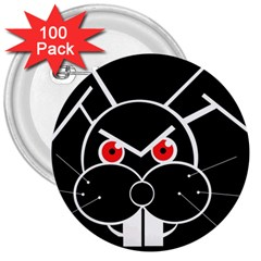 Evil Rabbit 3  Buttons (100 Pack)  by Valentinaart