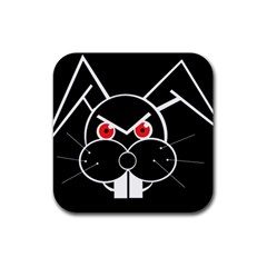 Evil Rabbit Rubber Coaster (square)  by Valentinaart