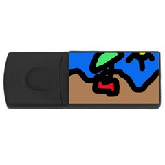 Beach Usb Flash Drive Rectangular (4 Gb)  by Valentinaart