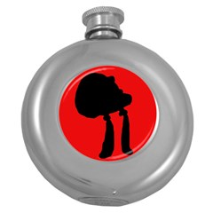 Red And Black Abstraction Round Hip Flask (5 Oz) by Valentinaart