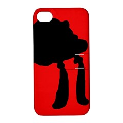 Red And Black Abstraction Apple Iphone 4/4s Hardshell Case With Stand by Valentinaart