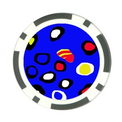 Blue Pattern Abstraction Poker Chip Card Guards by Valentinaart