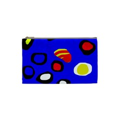Blue Pattern Abstraction Cosmetic Bag (small)  by Valentinaart