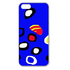Blue Pattern Abstraction Apple Seamless Iphone 5 Case (clear) by Valentinaart