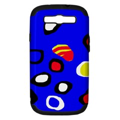 Blue Pattern Abstraction Samsung Galaxy S Iii Hardshell Case (pc+silicone) by Valentinaart