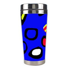 Blue Pattern Abstraction Stainless Steel Travel Tumblers by Valentinaart