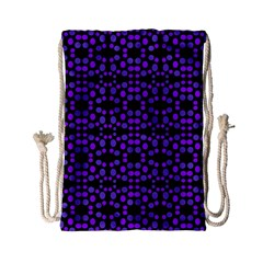 Dots Pattern Purple Drawstring Bag (small) by BrightVibesDesign
