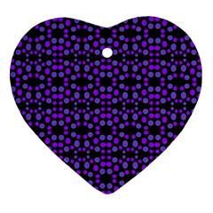 Dots Pattern Purple Ornament (heart)  by BrightVibesDesign