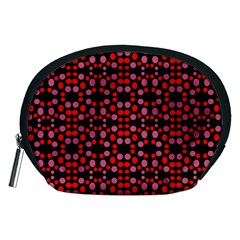 Dots Pattern Red Accessory Pouches (medium)  by BrightVibesDesign