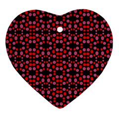 Dots Pattern Red Ornament (heart)  by BrightVibesDesign